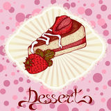 Piece of cake with strawberries color drawing card Royalty Free Stock Photo