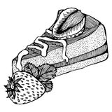 Piece of cake with strawberries monochrome drawing Royalty Free Stock Photos