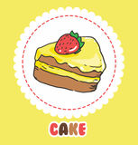 Piece of cake with strawberry and pink yellow icing. Cake Icon Royalty Free Stock Image