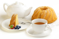 Piece of cake and tea Royalty Free Stock Photography