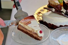 a piece of cake of three different layers on a small plate stock photo