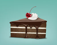 Piece of cake. Vector piece of chocolate puff cake with icing, whipped cream and maraschino cherry isolated on blue background stock illustration