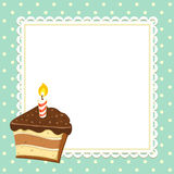 Piece of Cake. Vintage background with piece of Cake with candle. Invitation template. Vector illustration Stock Photo