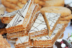 Piece of cake waffle. Closeup Royalty Free Stock Image
