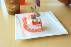 Piece of cake on white plate Royalty Free Stock Photos