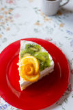 piece of cake with yogurt and fruit Stock Photography