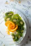 Piece of cake with yogurt and fruit Royalty Free Stock Images