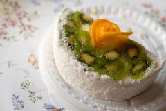 piece of cake with yogurt and fruit Stock Photo