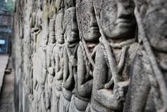 Fragment of Cambodian wall in Angkor Wat royalty free stock photo