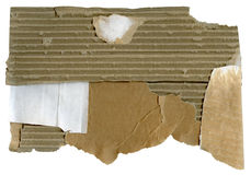 Piece of cardboard. On white background royalty free stock image