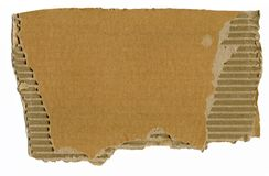 Piece of cardboard. On white background stock photos