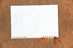 Piece of cardboard bright colorful wool thread, piece of paper e. Lement  laid out on cardboard with a place for accommodation on  background for scrapbook Royalty Free Stock Images