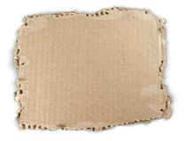 Piece of Cardboard. Cardboard piece part textured isolated recycling torn royalty free stock photography