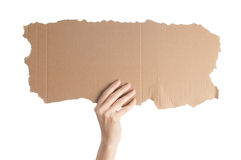 Piece of cardboard on white background Royalty Free Stock Photo