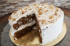 Piece of carrot cake stock photography