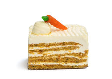 Piece of Carrot Cake on White Background Stock Photo