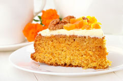 Piece of carrot pie with icing Stock Photo