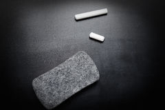 Piece of chalk and eraser on blackboard. Piece of chalk and eraser on clean blackboard Royalty Free Stock Photos