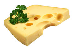 Piece of cheese. With parsley stock images