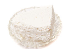 Piece of cheese. On white background closeup Royalty Free Stock Image