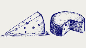 Piece cheese. Doodle style. Vector Stock Photo