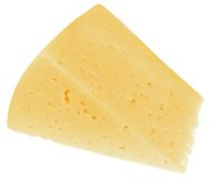 Piece of cheese. Piece of tasty cheese isolated on white royalty free stock image