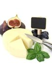 Piece of cheese with blackboard Royalty Free Stock Photos