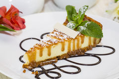 Piece of cheese cake Stock Photos