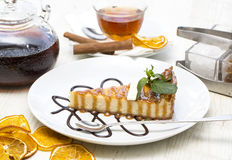 Piece of cheese cake stock images