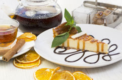 Piece of cheese cake stock photography