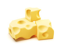 Piece of cheese. 3d. Stock Image