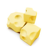 Piece of cheese . 3d. Stock Image