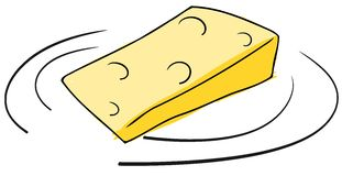 Piece of Cheese on dish  Stock Image