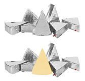 Piece of cheese in foil Royalty Free Stock Photos