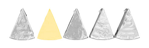 Piece of cheese in foil Royalty Free Stock Photo