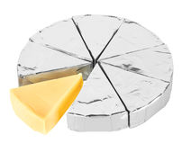 Piece of cheese in foil Royalty Free Stock Image