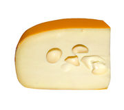 Piece of the cheese with hole insulated on white royalty free stock photos