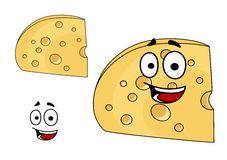 Piece of cheese with holes and a smiling face Royalty Free Stock Images