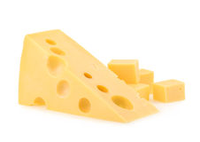 Piece of cheese isolated. all images of this series see my portf Royalty Free Stock Photography