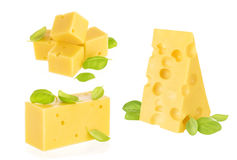 Piece of cheese isolated Stock Photos
