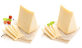 Piece of cheese isolated on white background. Stock Images