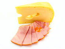 Piece  cheese with a meat Royalty Free Stock Image