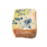 The piece of cheese with a mold isolated on white background, watercolor illustration. The piece of cheese with a mold isolated on white background, watercolor Stock Illustration