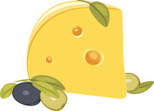 Piece of cheese with olives Stock Photography