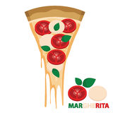Piece of Cheese Pizza Margherita Royalty Free Stock Image
