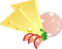 Piece of a cheese, sausage and tomato with parsley Stock Photo