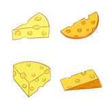 Piece of cheese. Vector doodle set. Stock Photography