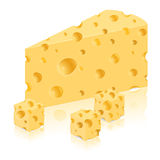 Piece of cheese vector illustration Royalty Free Stock Photos