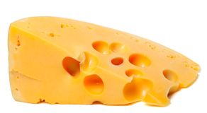 Piece of cheese on white background Royalty Free Stock Image