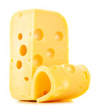Piece of cheese on white. Background Stock Photo